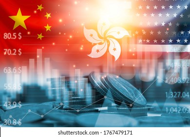 USA China and Hong Kong flag on coins stacking .It is symbol of economic crisis during tensions from protests in Hong Kong and USA China tariff trade war between United states of America and China.