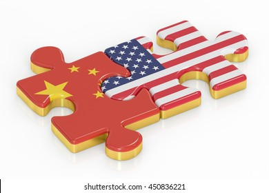 USA and China puzzles from flags, relation concept. 3D rendering