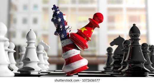 USA and China relations. China chess pawn hits US America chess king on a chessboard, blur background. 3d illustration