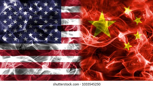 USA and China smoke flag