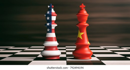 USA and China trade relations, cooperation strategy. US America and China flags on chess kings on a chess board. 3d illustration