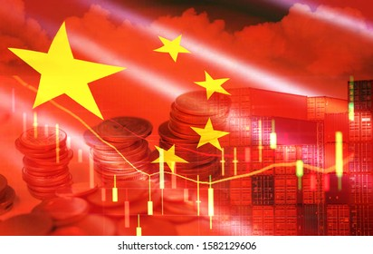 USA and China trade war economy recession conflict tax business finance money coins / United States raised taxes on imports China on industry in export and import logistics tariffs and stock chart