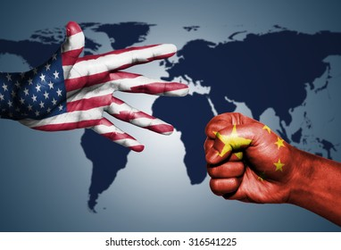 USA and China World powers Rock-Paper-Scissors on World map background.
