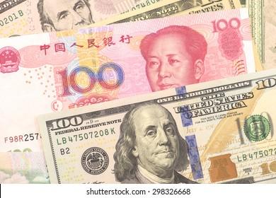 USA and Chinese banknotes