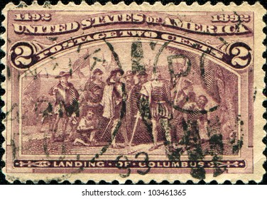 USA - CIRCA 1893: A Stamp printed in USA honoring of Landing of Columbus, circa 1893