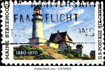 """USA - CIRCA 19: A stamp printed in United States of America shows """"Lighthouse at two Lights"""", by Edward Hopper (1882-1967), Maine Statehood Issue, circa 1970"""