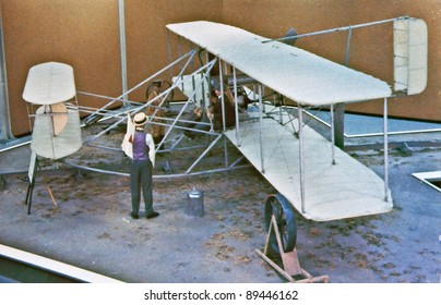 USA - CIRCA 1900 - This aged vintage postcard is showing signs of wear, depicting the era of the Wright Brothers working on the invention of flight aviation.  A defining moment in US history.