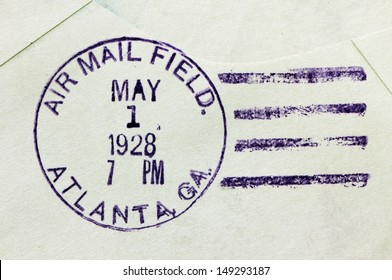 USA - CIRCA 1928: Vintage cancellation air mail postmark from Atlanta, state of Georgia on an old postal cover, circa 1928.
