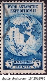 USA - Circa 1933: a postage stamp printed in the US showing a globe. Text: Byrd Antarctic Expedition II