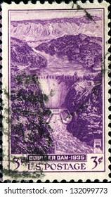 USA -CIRCA 1935: A stamp printed in United States of America shows Boulder Dam, Circa 1935