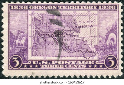 USA - CIRCA 1936: Postage stamp printed in the USA, dedicated to the Centenary of Oregon Territory opening, shows Map of Oregon Territory, circa 1936