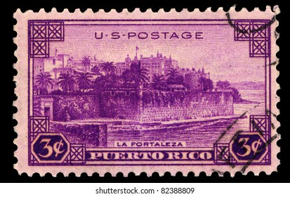 USA - CIRCA 1937 : A stamp printed in the USA shows Puerto Rico, La Fortaleza, circa 1937