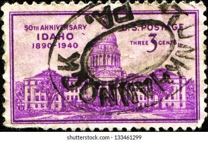 USA - CIRCA 1940: A stamp printed in United States of America shows Idaho Capitol, Boise, Idaho statehood, 50th anniversary, circa 1940