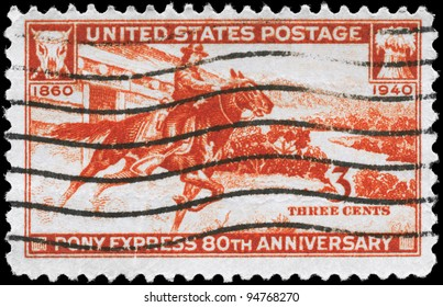 USA - CIRCA 1940: A Stamp printed in USA devoted to 80th anniv. of the Pony Express, circa 1940