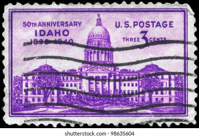 USA - CIRCA 1940: A Stamp printed in USA shows Idaho Capitol, Boise, Idaho statehood, 50th anniversary, circa 1940