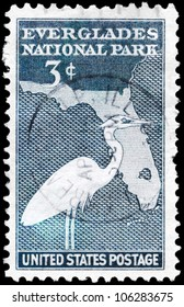 USA - CIRCA 1947: A Stamp printed in USA shows the Great White Heron and Map of Florida, Everglades National Park issue, circa 1947