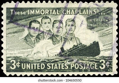 USA - CIRCA 1948: A Stamp printed in USA shows the Four Chaplains and Sinking S.S. Dorchester, circa 1948