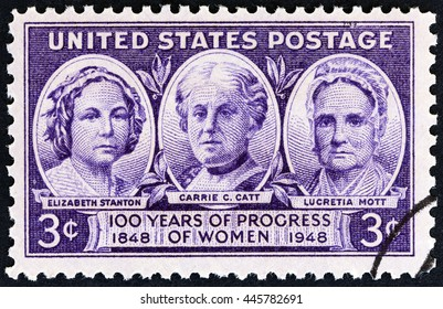 """USA - CIRCA 1948: A stamp printed in USA from the """"Progress of American Women """" issue shows Elizabeth Stanton, Carrie Chapman Catt, and Lucretia Mott, circa 1948."""