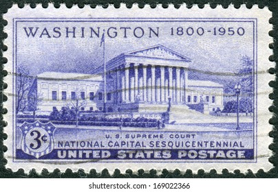 USA - CIRCA 1950: A postage stamp printed in the USA, dedicated to the 150th anniversary of the establishment of the National Capital, Washington, DC, shows the Supreme Court Building, circa 1950