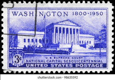 USA - CIRCA 1950: A Stamp printed in USA shows Supreme Court Building, National Capital Sesquicentennial Issue, circa 1950