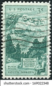USA - CIRCA 1952: Postage stamp printed in the USA, dedicated to the 25th anniversary of the dedication of the Mount Rushmore National Memorial, shown Sculptured Heads on Mount Rushmore, circa 1952