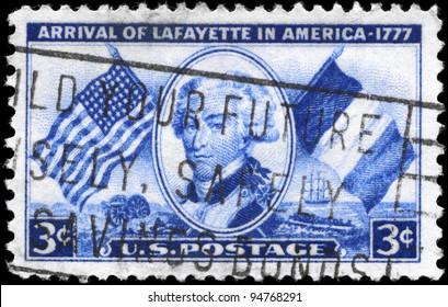 USA - CIRCA 1952: A Stamp printed in USA devoted to Arrival of Lafayette (1757-1834) in America, 175th anniv, circa 1952