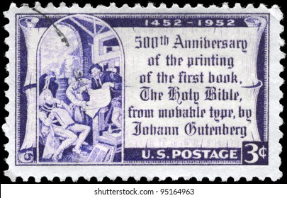 USA - CIRCA 1952: A Stamp printed in USA devoted to 500th anniv. of the printing of the 1st book, the Holy Bible, by Johann Gutenberg, circa 1952