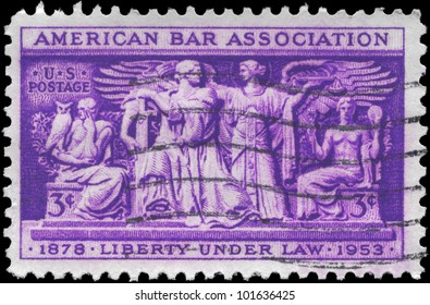 USA - CIRCA 1953: A Stamp printed in USA shows the Section of Frieze, Supreme Court Room, American Bar Association, 75th anniversary, circa 1953