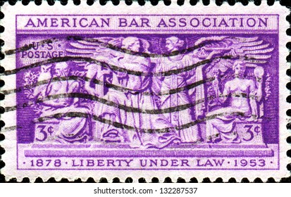 USA - CIRCA 1953: A stamp printed in United States of America shows Section of Frieze, Supreme Court Room, American Bar Association, 75th anniversary, circa 1953