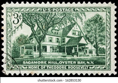 USA - CIRCA 1953: A stamp printed by USA shows view of Sagamore Hill, Oyster Bay, New York. Home of Theodore Roosevelt, circa1953.