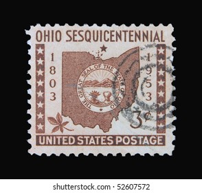 USA - CIRCA 1953: A stamp printed in the USA showing the Great Seal of the state Ohio, circa 1953