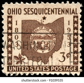 USA - CIRCA 1953: A Stamp printed in USA shows the Map and Ohio State Seal, circa 1953