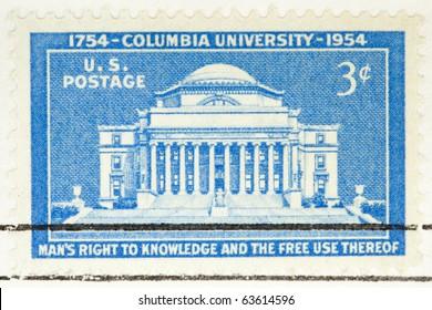USA - CIRCA 1954: A stamp printed by USA shows Columbia University, circa 1954
