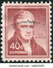 USA - CIRCA 1955: Postage stamps printed in USA, shows the fourth Chief Justice, John James Marshall, circa 1955
