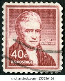 USA - CIRCA 1955: A stamp printed in USA shows portrait of John Marshall (1755-1835), circa 1955