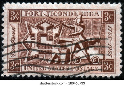 USA - CIRCA 1955: A Stamp printed in USA shows the Map of the Fort, Ethan Allen and Artillery, Fort Ticonderoga Bicentenary, circa 1955