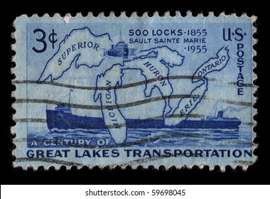USA - CIRCA 1955: A stamp printed in USA shows image of the dedicated to the Century Of Great Lakes Transportation circa 1955.