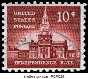 USA - CIRCA 1956: A stamp printed in USA shows Independence Hall, Philadelphia, Pennsylvania, Liberty Issue, circa 1956