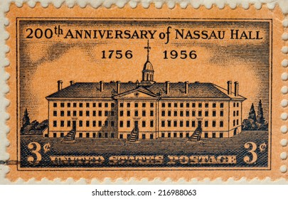USA - CIRCA 1956:A Cancelled postage stamp from the USA illustrating 200th Anniversary of Nassau Hall, issued in 1956.