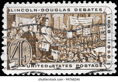 USA - CIRCA 1958: A Stamp printed in USA devoted to Abraham Lincoln and Stephen A. Douglas Debating, circa 1958