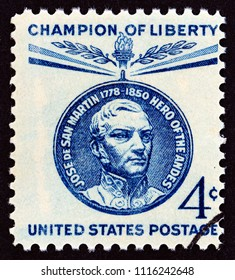 USA - CIRCA 1959: A stamp printed in USA issued for San Martin Commemoration  shows Medallion portrait, circa 1959.