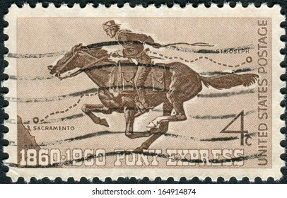 USA - CIRCA 1960: A postage stamp printed in USA, Pony Express Centennial Issue, shows Pony Express Rider, circa 1960