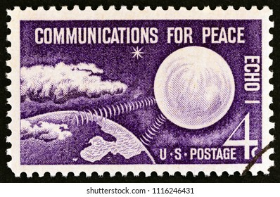 "USA - CIRCA 1960: A stamp printed in USA from the ""Communications for Peace"" issue shows Echo I Communications Satellite, circa 1960."