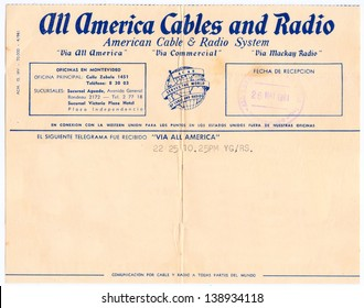 "USA - CIRCA 1961: An old printed in United States telegram form, campaign poster, sent from US with inscription ""All America Cables and Radio. Serves the World by Cables and Radio"", series, circa 1961"