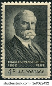 USA - CIRCA 1962: Postage stamps printed in USA, shows the 36th Governor of New York and 11th Chief Justice of the United States, Charles Evans Hughes, circa 1962