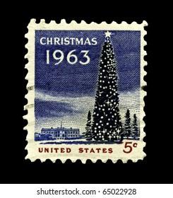 USA - CIRCA 1963-  America's Christmas postage stamp shows the White House and the National Christmas Tree in Washington DC., circa 1963.