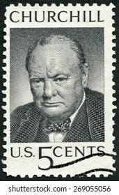 USA - CIRCA 1965: A stamp printed in United States of America shows Sir Winston Spencer Churchill (1874-1965), British statesman and WWII leader, circa 1965