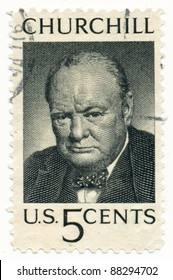 USA - CIRCA 1965: A stamp printed in USA shows portrait Winston Leonard Spencer-Churchill, circa 1965