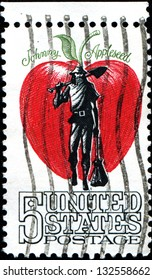 USA - CIRCA 1966: A stamp printed in United States of America shows Johnny Appleseed, man who gave away and sold seedlings to Midwest pioneers, circa 1966 - Shutterstock ID 132558662