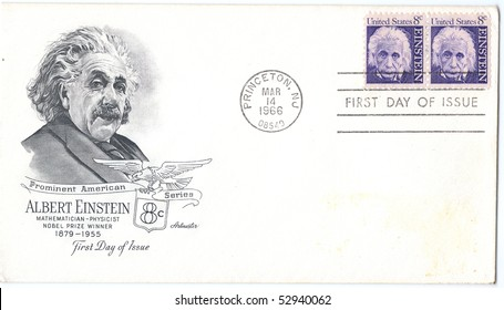 "USA - CIRCA 1966: Vintage envelope and stamps in honor of Nobel Prize Winner Albert Einstein with inscription ""Mathematician Physicist Nobel Prize Winner Albert Einstein"", series, circa 1966"